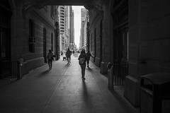 Moving West (dmcbee1) Tags: city commuter transportation backlight corridor nikkor white black people shadows narrow movement bw blackandwhite crowded street philadelphia downtown