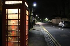 Night Shoot, 98 (doojohn701) Tags: road car cold streetlighting pavement distance station telephone box vandalism windows reflection glare sky night dusk dark village uk