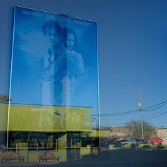 U Turn (filmed in Superior, AZ) (greenschist) Tags: reflection window uturn arizona usa superior movie poster