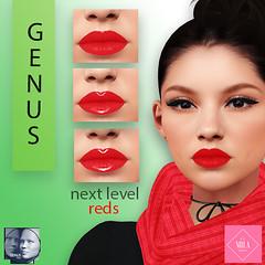 [Bella Mila] Next Level 'Reds' GENUS (Pucker UP!) Tags: genus cosmetic lips red gloss classic babyface