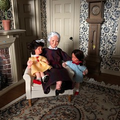 Gran's girls (Foxy Belle) Tags: dollhouse caco 112 room miniature living diorama chair dolls grandmother girls little family collection people clock tan black toile bird wallpaper doors molding wooden furniture mantle