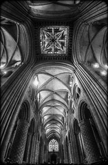 Durham Cathedral. (CWhatPhotos) Tags: cwhatphotos camera photographs photograph pics pictures pic picture image images foto fotos photography artistic that have which contain flickr olympus omd em1 mk l mzuiko 8mm prime fisheye fish eye lens durham north east england uk city centre concrete structure cathedral foot path footpath walk iconic building bw black white mono monochrome architecture arches