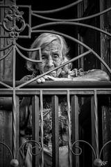 Prisoner of age ! (poupette1957) Tags: art canon city curious colombie detail humanisme house imagesingulières life lady monochrome noiretblanc noir old photographie people portrait rue street town travel urban ville voyage