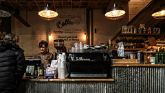 Coffee counter (PChamaeleoMH) Tags: bleachbypass brickwood cafe colorefexpro4 coveredmarket family nik people sister tootingmarket