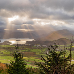 Lighting up CatBells (alan.dphotos) Tags: rock rocks trees forest wood woods branches tree moss green leaves leaf waterfall heather copper grass hill whitewater derwent buttermere fell sunrays lakedistrict