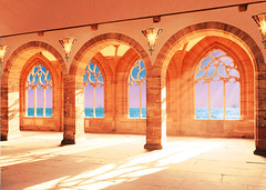 Summer (*AdeCo*) Tags: castle sunshine ocean windows view antique pillars light room hall old ancient arch architecture sunny shadows seaview outlook fairytale fantasy gold red