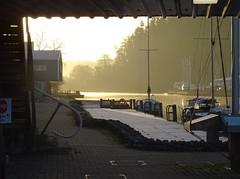 Framed gold (Phil Gayton) Tags: frame path mooring stage dock boat water tree sky sun sunrise gold light steamer quay home reach river dart totnes devon uk