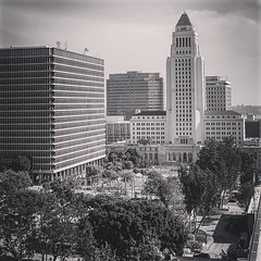 My Los Angeles 75 - Los Angeles City Hall and Grand Park Looking east towards City Hall in Downtown LA with Grand Park in the foreground. Taken from the top floor of the Stanley Mosk Courthouse while on jury duty today. I always make a point of taking pho (dewelch) Tags: