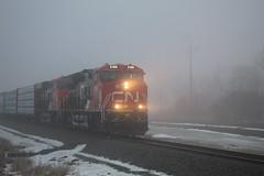 A Foggy Afternoon Train (recekasten) Tags: cn bnsf gt 703 eje wisconsin railroad neenah appleton