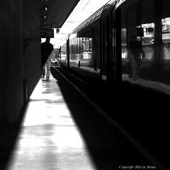 Triangulation (Spotmatix) Tags: 50mm 50mmf17 belgium brussels camera effects lens minolta monochrome nex6 places primes sony street streetphotography trains trainstation transports