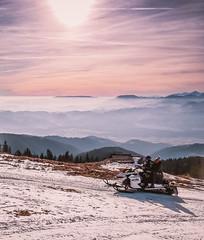 Fun on snow with snowmobile at Kope ski resort