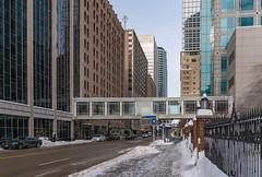Minneapolis Skyways in Winter (Tony Webster) Tags: february minneapolis minnesota nextrip busstop cold downtown enclosedbridge sidewalk skyway skyways snow walkway winter