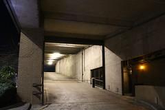 Night Shoot ,60 (doojohn701) Tags: architecture flourescent lights streetlighting barrier sodiumoxide road dusk dark sky vegetation reflection shadow concrete bexleyheath uk