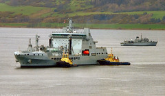 Scotland Greenock English navy warships docking with the help of tugs the replenishment vessel RFA Tidesurge 19 February 2019 by Anne MacKay (Anne MacKay images of interest & wonder) Tags: scotland greenock english navy warship warships tugs replenishment vessel rfa tidesurge sea 19 february 2019 picture by anne mackay
