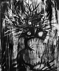 Lachrymosa Lingering (Skyler Brown Art) Tags: acrylic angst architecture art artwork bw baudelaire black blackwhite blackandwhite canvas charcoal creepy dark darkness drawing fear goth gothic intense macabre nightmare ominous paint painting scary surreal surrealism text tree treehouse whiteout