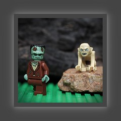 Frankenstein and Golem (N.the.Kudzu) Tags: tabletop toys lego minifigures canondslr meike 85mmf28 macro lens canon430ex flash photoscape frame home