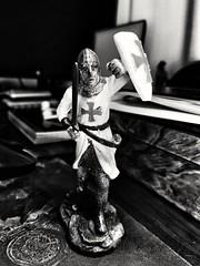(GLKPhotos) Tags: figure figurine model knight knightstemplar blackandwhite mobilephone phone leica stilllife monochrome mono contrast tonalcontrast textures sword shield helmet crusader