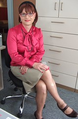 Office secretary (Marie-Christine.TV) Tags: feminine transvestite lady mariechristine leather skirt pussybowblouse hawes curtis dame sekretärin lederrock schluppenbluse satin elegant nylon stockings nylonstrümpfe