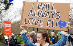 I Will Always Love EU (DobingDesign) Tags: streetphotography protest putittothepeoplemarch brexit signage text messages homemadesignage parklane london londonstreets smiles candid