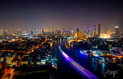 Bangkok cityscape, Bangkok night view in the business location. Thailand night. Panorama of Chao Praya River in Bangkok, Thailand - Jan 7, 2019 (pomp_jaideaw) Tags: bangkok river night thailand chao city view panorama bridge travel background praya sunset landmark cityscape wat modern sky water architecture tourism light temple landscape building skyline asia skyscraper twilight dusk phraya phra urban boat traffic beautiful blue white memorial scene road street transport tourist evening capital hotel thai