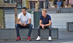 IMG_7340 (Skinny Guy Lover) Tags: outdoor people candid guys men males dudes sitting sit seated bench jeans blond street adidasshoes adidasshirt adidaspoloshirt