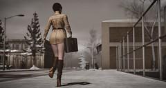 walking away 1 (terraclaremont) Tags: walk away leave winter sidewalk suitcase luggage legs boots coat fence snow