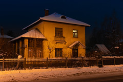 The crossing of Pushkin's and Lermontov's streets (ekoloskov) Tags: zhukovsky moscowoblast russia ru cityscape nightscape house winter architecture 43mmlimited pentax43mmlimited 43mm pentax pentaxk1markii