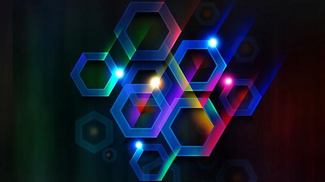 Обои цвет, шестигранник, ячейка, объем, линии, лучи картинки на рабочий стол, фото скачать бесплатно