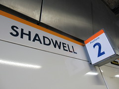 Two shades of orange (alexliivet) Tags: shadwell london station uk platform metro londonunderground londonoverground tfl frieze sign platformnumber 2 platform2 eastlondonline orange newjohnston