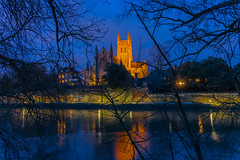 Worcester Cathedral-1378 (alan.dphotos) Tags: worcester cathedral building church religion river severn light dark sky trees shadows reflections