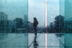 Pluie // Rain (erichudson78) Tags: france iledefrance hautsdeseine ladéfense paysageurbain urbanlandscape vitre glass eau water pluie rain silhouette canonef24105mmf4lisusm canoneos6d