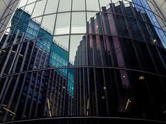 Looking Back (Sean Batten) Tags: london england unitedkingdom gb cityoflondon reflection abstract architecture building glass window lines curves city urban fuji x100f fujifilm