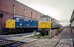 Longsight, Manchester, September 1984 (David Rostance) Tags: 40044 class40 englishelectric 47594 class47 longsight engineshed manchester dmu brcw class104