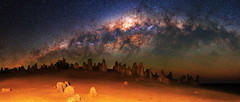 Milky Way over The Pinnacles Desert, Western Australia (inefekt69) Tags: thepinnaclesdesert pinnacles desert nambung nambungnationalpark panorama stitched mosaic ms ice milky way cosmology southernhemisphere cosmos southern westernaustralia australia dslr long exposure rural nightphotography nikon stars astronomy space galaxy astrophotography outdoor milkyway core great rift ancient sky 35mm d5500 airglow landscapeastrophotography nikkor prime lens ioptron skytracker tracked