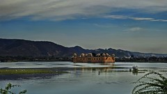Jal Mahal !! (Lopamudra !) Tags: lopamudra lopamudrabarman lopa rajasthan rajastan india landscape water waterscape lake loch jaipur clouds cloud sky skyscape mountain mountains hills building palace structure architecture regal royal rajput jalmahal beauty beautiful picturesque