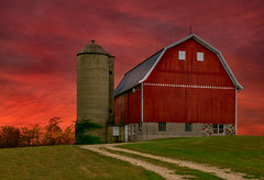Top of the Hill (henryhintermeister) Tags: barns minnesota wibarns oldbarns clouds farming countryliving country sunsets storms sunrises pastures nostalgia skies outdoors seasons field hay silos dairybarns building architecture outdoor winter serene grass landscape plant cloudsstormssunsetssunrises pickettwi