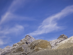 Outside Devil's Thumb (Mabry Campbell) Tags: alberta banff banffnationalpark canada devilsthumb blue clouds image landscape mountain peak photo sky snow f12 mabrycampbell october 2018 october42018 20181004banffcampbellb0002475 80mm 80sec 800 hc80