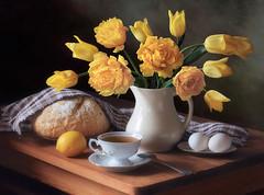 Still life with yellow tulips (Tatyana Skorokhod) Tags: stilllife bouqet tulips eggs bread indoor table decor