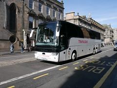 Weardale of Stanhope Van Hool TX16 Acron YJ66FGD, with Trafalgar Tours vinyls, at George IV Bridge, Edinburgh, on 20 September 2018. (Robin Dickson 1) Tags: busesedinburgh arrivaofgomersal weardaleofstanhope vanhooltx16acron yj66fgd trafalgartours