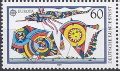 Deutsche Briefmarken (micky the pixel) Tags: briefmarke stamp ephemera deutschland bundespost europamarke kinderspiel drachensteigen drachen kite
