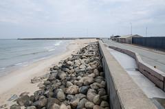 Beach and road (AstridWestvang) Tags: beach building denmark hirtshals rock sea street