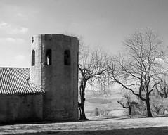 Pieve di Corsignano - Pienza (Darea62) Tags: blackandwhite outside trees ancient towerbell bw biancoenero valdorcia blackwhite toscana historic church history monument unesco village borgo