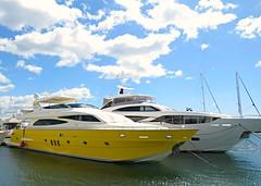 Yellow Boat! ('cosmicgirl1960' NEW CANON CAMERA) Tags: marbella spain espana andalusia puertobanus costadelsol travel holidays blue boats sky yabbadabbadoo
