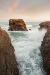 Dollar Rock (Julian Barker) Tags: dollar rock porth island cornwall dawn sunrise julian barker south west newquay kernow sea stack cliffs cliff motion blur waves water ocean movement canon dslr