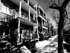 Mont-Royal Side Street (Montreal) (MassiveKontent) Tags: winter snow street contrast noiretblanc blackwhite blancoynegro montreal bw city monochrome urban blackandwhite streetphoto montréal quebec canada streetphotography bwphotography streetshot android absoluteblackandwhite frozen mono cold road cars montroyal plateau stairs