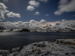 Night and Day (katrin glaesmann) Tags: lofoten norwegen norway 2019 wwwicelandtoursnet nordland winter sea unterwegsmiticelandtours photographyholidaywithicelandtours reflection mountains snow clouds fullmoon