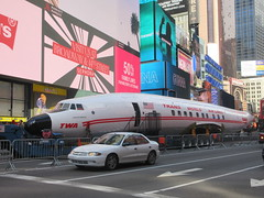 2019 Celebration of Retro TWA Hotel - Wingless Plane Times Square 4507 (Brechtbug) Tags: 2019 celebration retro twa hotel brooklyn wingless 1958 lockheed constellation connie l1649a starliner airplane visits times square before heading trans world airlines new yorks john f kennedy international airport known york anderson field commonly idlewild city march 23rd nyc 02232019