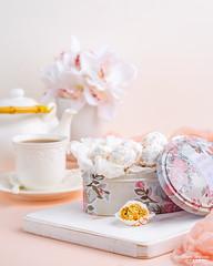 Kahk 2 (omer.arahman) Tags: kahk cookies middleeastern yummy homemade homebaking sugar nuts peanuts teapot teacup tea board white pink flowers food drink hot