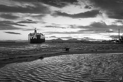 """""""E la nave va"""" (tzevang.com) Tags: sea seascape bw bythesea piraeus port ship clouds fujifilm greece"""