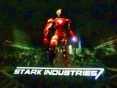 Stark Industries (Steve Taylor (Photography)) Tags: starkindustries ironman digitalart museum green black stark blue gold white man asia city singapore night